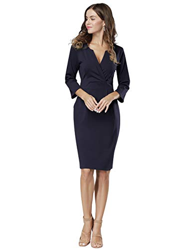 - HiQueen Women's 3/4 Sleeve Official Wear to Work Retro Business Bodycon Party Pencil Dress (Navy XXL)