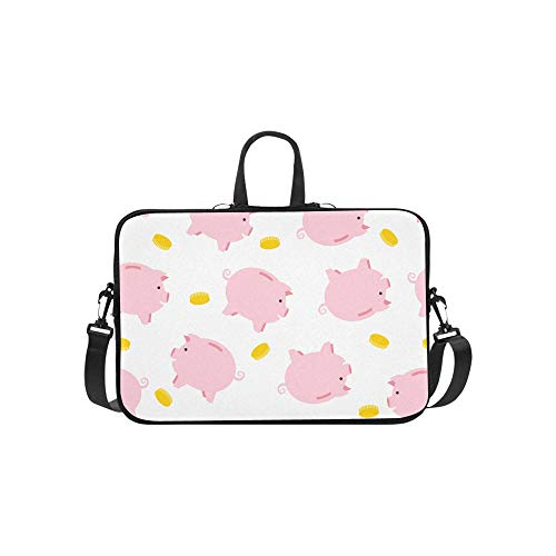 (Cheerful Cute Little Cute Flying Pigs Pattern Briefcase Laptop Bag Messenger Shoulder Work Bag Crossbody Handbag for Business Travelling )