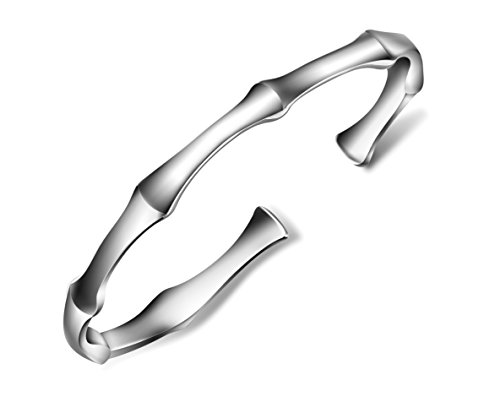 Merdia Women's 999 Sterling Silver Bangle Bracelet with Created Open Design About 16G ()