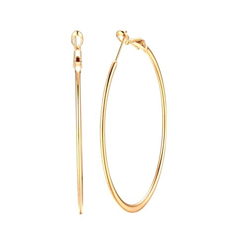 (3.5 Inch 14K Yellow Gold Plated Basketball Big Hoop Earrings For Women Girls Stainless Steel Large Hoops For Sensitive Ears (yellow gold))
