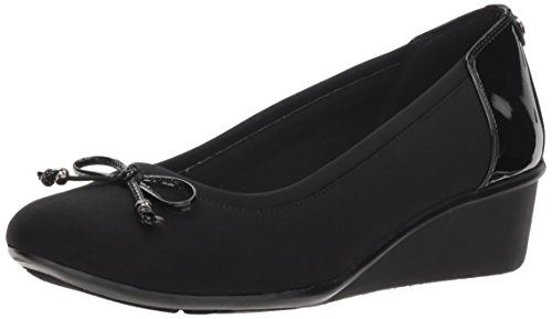 Anne Klein AK Sport Women's Darlene Wedge Pump Ballet Flat, Black Combo Fabric, 7.5 M US