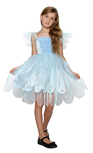 Blue Fairy Costumes (Girls Princess Tinkerbell Long Dress Fairy Wings Halloween Costume (7-9 Years,)