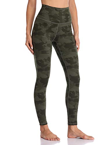 Colorfulkoala Women's High Waisted Pattern Leggings Full-Length Yoga Pants (S, Army Green Splinter Camo)