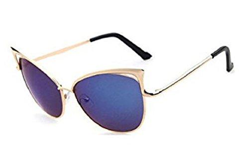 YABINA Sexy Cateye Women Sunglasses Oversized Metal Frame Flat Mirrored Lens - 5 Sunglass Brands Top
