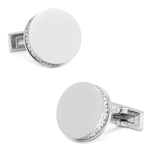 Ox and Bull Trading Co. Stainless Steel White Pave Crystal Engravable Cufflinks