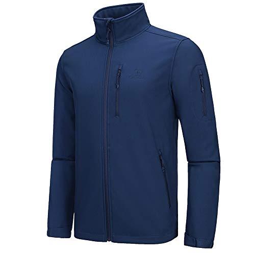 CAMEL CROWN Men's Softshell Jacket Fleece Lined Waterproof Windproof Jacket Full Zip Lightweight Outdoor Winter Coat Blue M