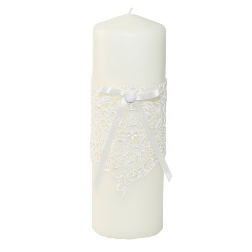 Ivy Lane Design Wedding Accessories Vintage Lace Pillar Unity Candle, Ivory