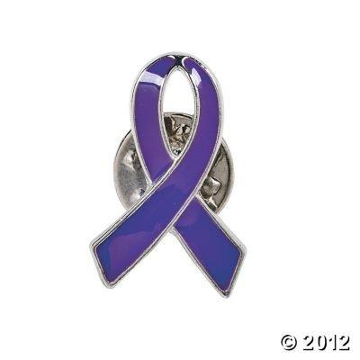 Cancer Pin (12 Purple Ribbon Cancer Awareness Ribbon Tac Lapel Pins)