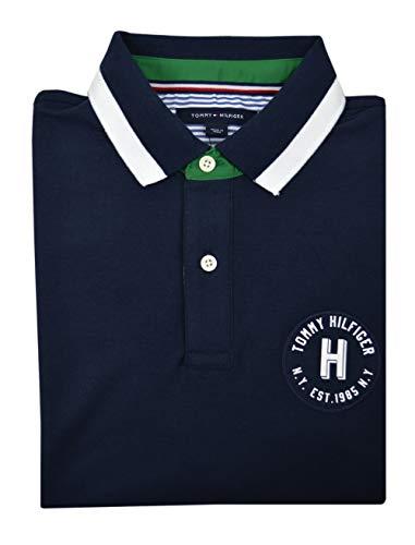 Colorblock Mesh Polo - Tommy Hilfiger Men's Colorblock Cotton Mesh Pique Polo Shirt Navy Blue White (Large)