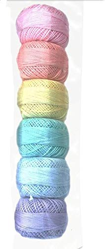Presencia Pearl Cotton Thread Sampler - Sashiko, Embroidery & Quilting - Pastel Sampler - Size 8-6 Colors - 77 Yard Balls