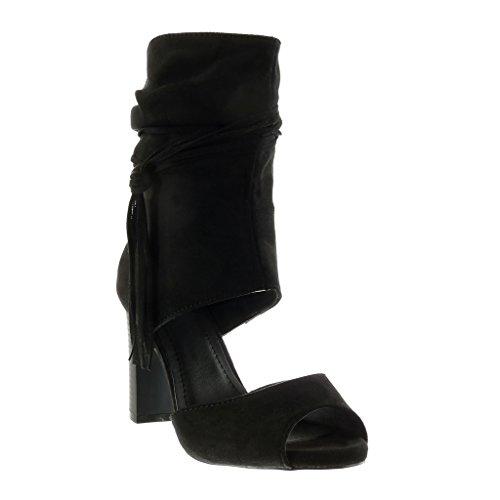 Angkorly - Chaussure Mode Bottine Sandale Peep-Toe ouverte sexy femme lanière frange Talon haut bloc 9 CM - Noir