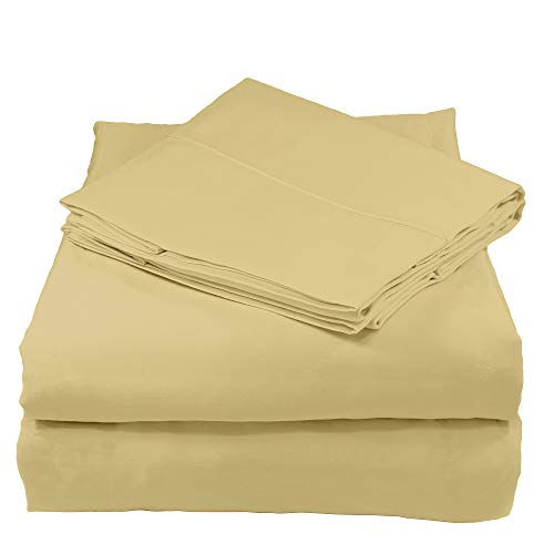 Whisper Organics 100% Organic Cotton Bed Sheet Set, 300 Thread Count - GOTS Certified (King, Sand) ()