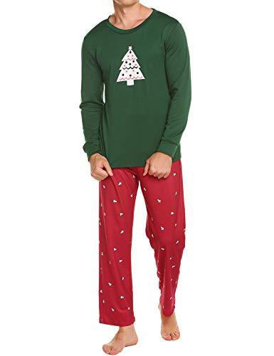 Ekouaer Loungewear Men's Cotton Christmas Sleepwear Scoopneck Sleepshirts Long Pajama Set (Green,S)