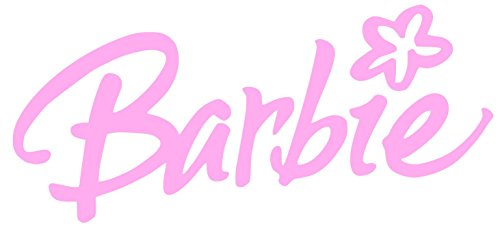 - Barbie with Flower Sticker Decal (15''x9'', Pink)