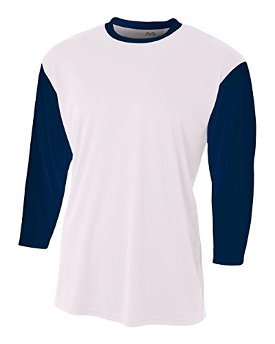 White Baseball Undershirt (White/Navy Blue Adult XL 3/4 Sleeve Baseball/Softball Raglan Utility Shirt)