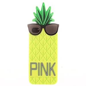 JAJAY- ships in 48 hours Pineapple Wearing Glasses Silicone Soft Case for iPhone 4/4S (Assorted Colors) , Green