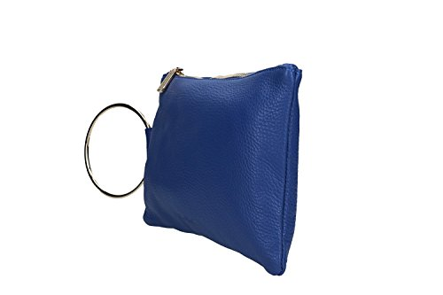 Borsa donna a mano mini PIERRE CARDIN pochette blu pelle Made in Italy VN1020