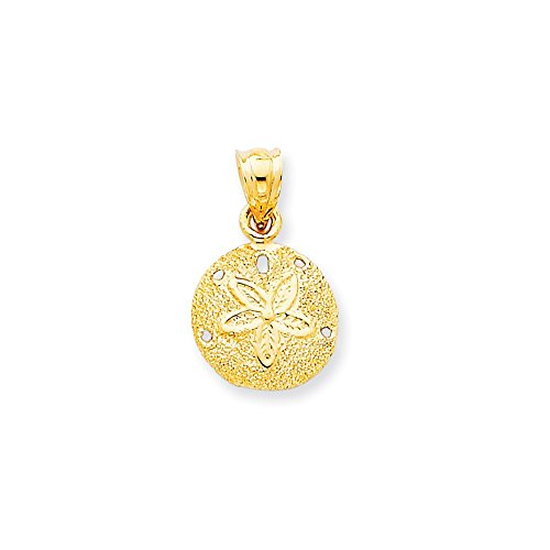 14k Gold Solid Polished Laser-Cut Sand Dollar Pendant (0.79 in x 0.47 in) ()