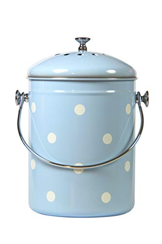 Kitchen Compost Bin Blue White Polka Dots By Mount Delectable | 1.3 Gallon/5 Liter | Stainless Steel | Charcoal Filter (Ideas Patio Australia Back)