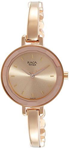 Titan Raga Viva Analog Rose Gold Dial Women's Gold, Silver Metal, Brass, Leather, Jewellery Design, Bracelet Style, Designer, Quartz Glass, Water Resistant Wrist Watch ()