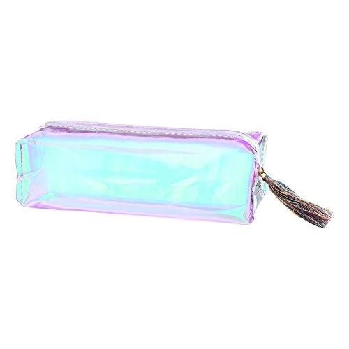 """BCP 7.5 x 2.5 x2"""" Laser Transparent Zip Pencil Case Stationery Pouch Cosmetic Bag with Tassel Zipper"""