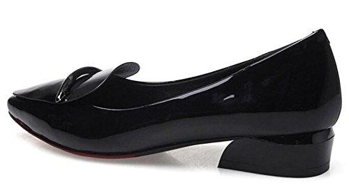 Low Pointed Heels Toe Fashion On Easemax Slip Black Pumps Womens Chunky 7anTOExwq6
