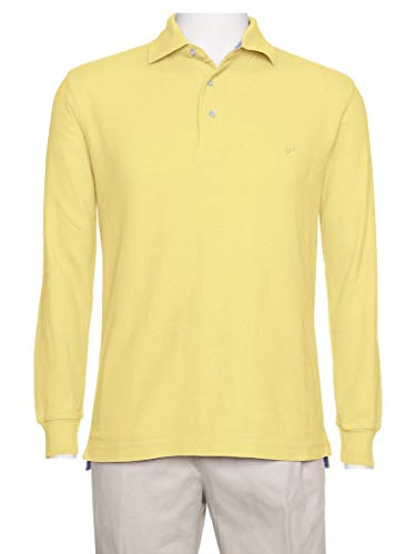 (AKA Men's Solid Polo Shirt Classic Fit - Pique Chambray Collar Comfortable Quality Dark Yellow-Long Sleeve 2X)