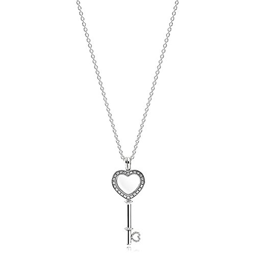 Pandora Floating Locket Heart Key Silver 32 inches Necklace 396581CZ-80