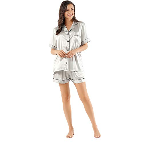 (GAESHOW Women's Satin Silk Pajamas Set Short Sleeve Button-Down Pj Set Sleepwear Loungewear Two Piece Pj Sets(Gray,L))
