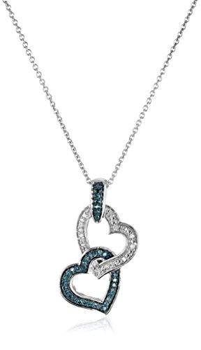 Double Heart Pendant Jewelry (Sterling Silver Blue and White Diamond Double Heart Pendant Necklace (1/6 cttw), 18