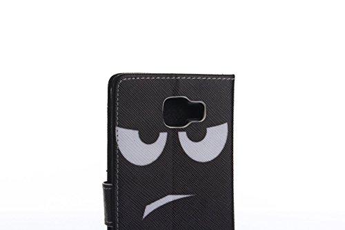 tinxi® Caja del cuero genuino para Samsung galaxy A5 2016 5,2 pulgadas bolsa en estilo del libro del caso de Shell de la cubierta del caso con ranuras para tarjetas de la función de aparcamiento en ma cara negra