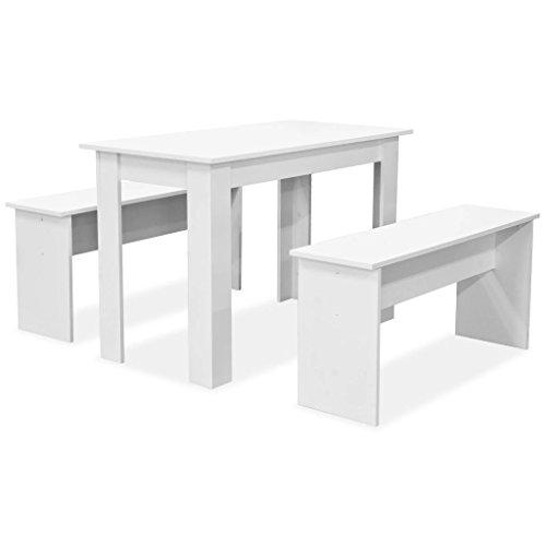 Tidyard- Set de Mesa de Comedor con Sillas 3 Piezas,1 Mesa y 2 Bancos,Madera Aglomerada,Blanca Mate