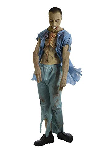 The Walking Dead TV Show Zombie Patient Costume with Molded Wound, Multicolored, -