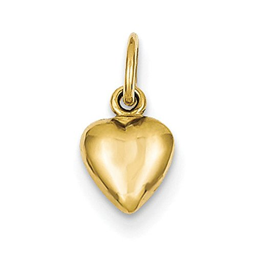 14K Yellow Gold Small Puffy Heart Charm Pendant High Polish 15mm Tall and 7mm Wide (High Polish Small Gold)