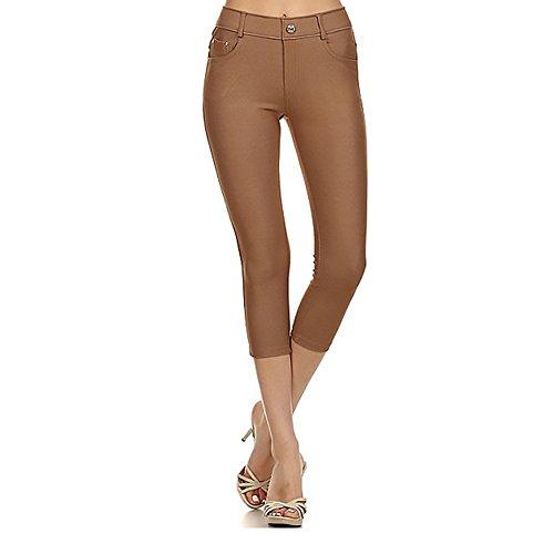 - Women's Stretchy Skinny Jeggings Shorts  Capri Pull On Style Khaki Medium