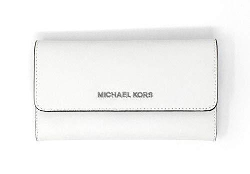 Michael Kors Jet Set Travel Large Trifold Leather Wallet (Optic White/Silver Hardware)