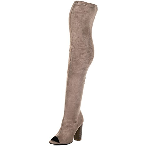 Toe Peep Brown Spylovebuy Suede Block Knee Heel Open Boots Style Tall Women's Over Laverne aPZZx4tnI