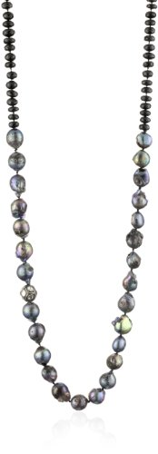 "Lena Skadegard ""Galatea"" Black Spinel, ""Rustic"" Pearl and Diamond Ball Necklace"