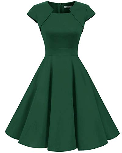 (Homrain Women's 1950s Retro Vintage A-Line Cap Sleeve Cocktail Swing Party Dress Dark Green)