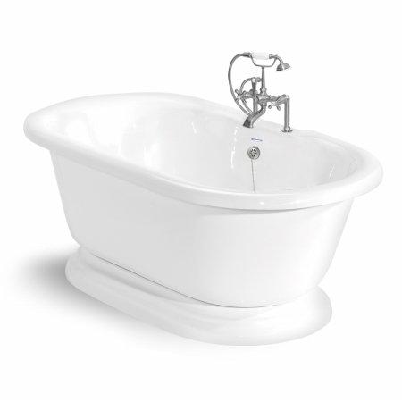 American Bath Factory T110F-SN Beacon Hill 70 in. White Acrastone Bath Tub44; Satin Nickel Metal Finish (Nickel Beacon Satin)