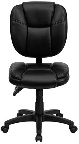 Flash Furniture Mid-Back Black Leather Multifunction Swivel Ergonomic Task Office Chair with Pillow Top Cushioning, GO-930F-BK-LEA-GG