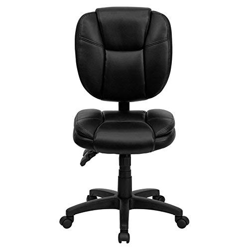Leather Armless - Flash Furniture Mid-Back Black Leather Multifunction Ergonomic Swivel Task Chair