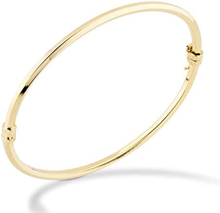 Miabella 18K Gold Over Sterling Silver Italian Oval Hinged Bangle Bracelet for Women Girls, 6.75 to eight Inch, 925 Made in Italy