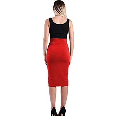 TAM WARE Womens Stylish Exposed Front Zip Stretchy Pencil Skirt TWCWD129-RED-US XXL at Women's Clothing store