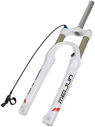 SN マウンテンバイクガスフォーク、26インチ自転車フロントフォークワイヤーコントロールロックアップ空気圧サスペンションフロントフォーク (Color : White)