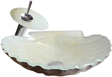 洗面ボウル 強化ガラス浴室容器シンクホタテはデザイン滝クローム仕上げの蛇口コンボ、ポップアップシンクの排水を形 洗面台 洗面器 (Color : White, Size : 45x12cm)