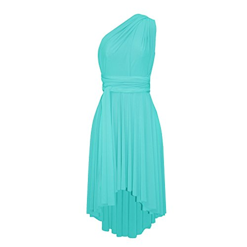 E K Infinity Dress Convertible Bridesmaid Multi Way Gown Plus Size Prom High Low Skirt-Tiffany Blue-l-XL