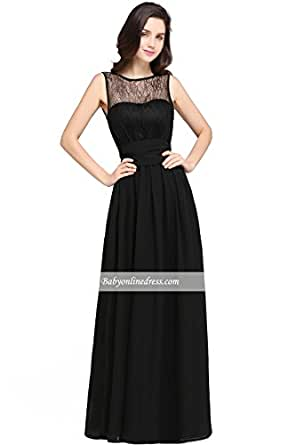 Halloween Big Promotion ~Promotion on Sales !!! Floor-length Lace Jewel Sexy Black Sheath Chiffon Keyhole Evening Gown(customizable ) (6, black)