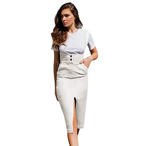 Toimothcn Women's Casual Spaghetti Strap Dress Front Split Button Pocket Mid-Length Dress(Beige,S)