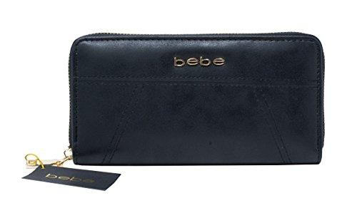 New Bebe Logo Zip Around Wallet Purse Hand Bag Black Evelyn Gold Hardware (Bebe Clutch)